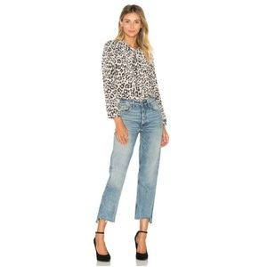 NEW JOIE Shirt Button Down Animal Print 100% Silk